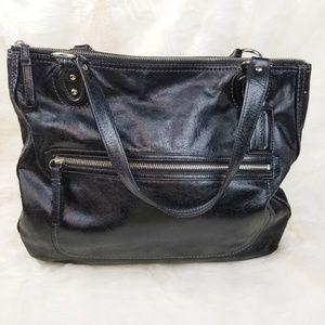 Coach Poppy Hallie Black Distressed Leather Purse